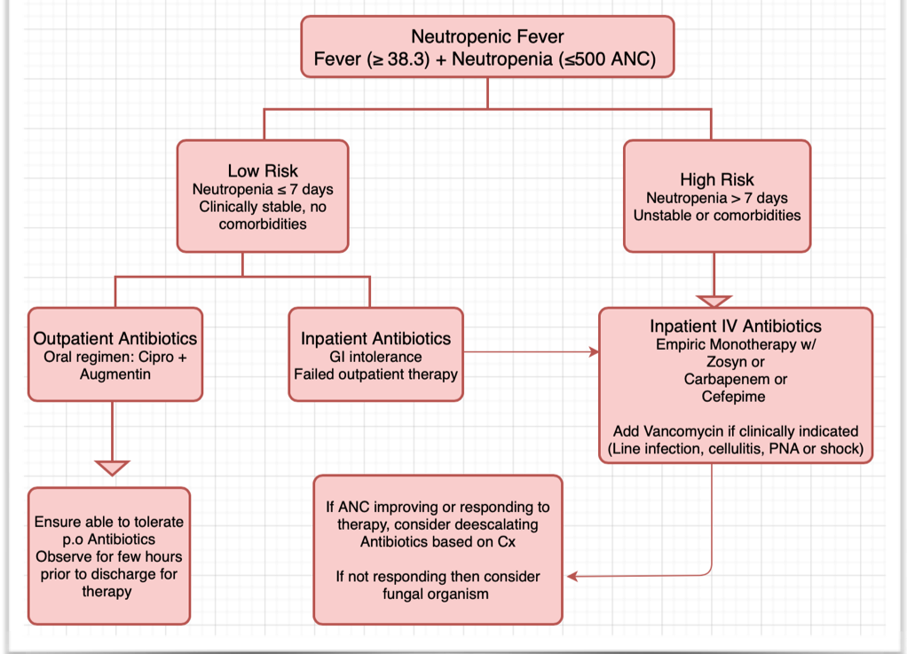 How do you approach antibiotics in febrile neutropenia?